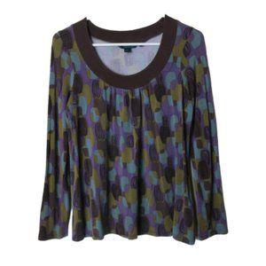 Boden retro print blue purple blouse 3/4 sleeves